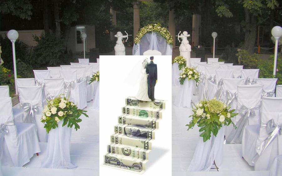 Садебный зал и молодожены на лестнице из денег