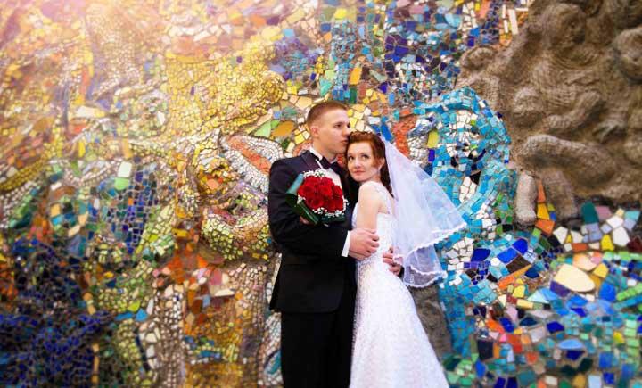 Свадебный клип в мозаичном дворике