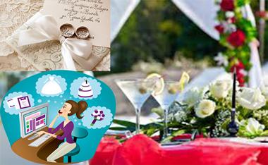Девушка, ноутбук и свадебный декор