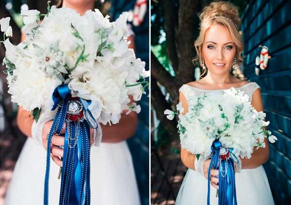 Аксессуары и макияж синей свадьбы