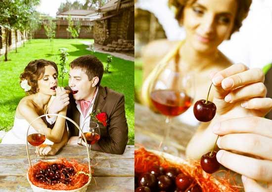 Жених и невеста и вишни