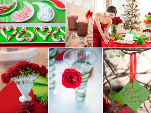 Красно зеленая свадьба зимой