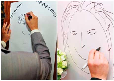Жених рисует портрет невесты