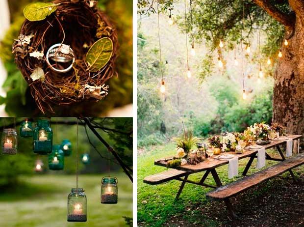 Оформление колец и свадебного стола в лесной обстановки