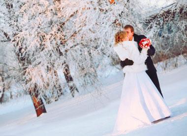 Свадьба зимой жених и невеста