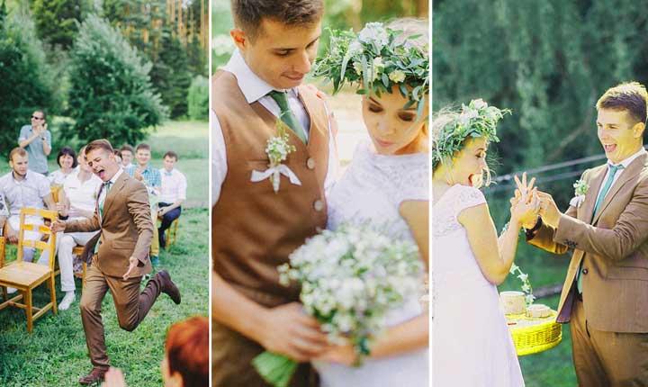 Стиль 80 бело коричневая свадьба