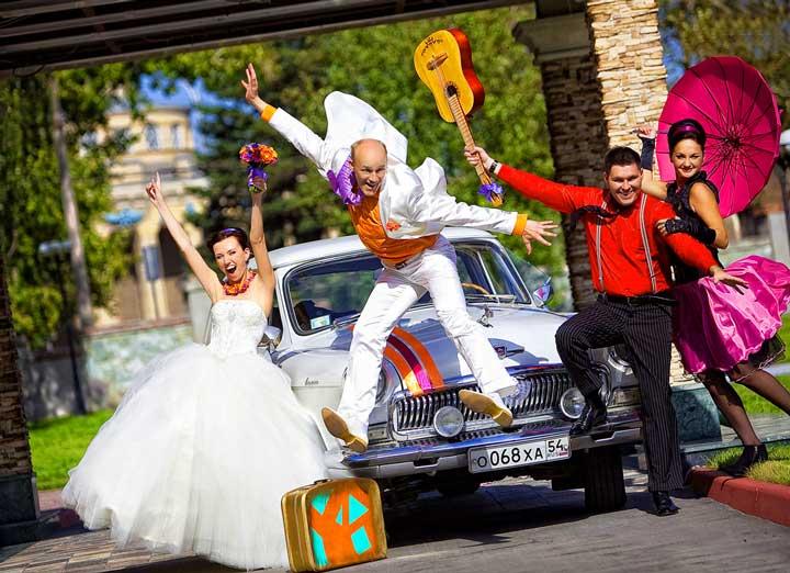 Яркая прикольная свадьба в стиле диско