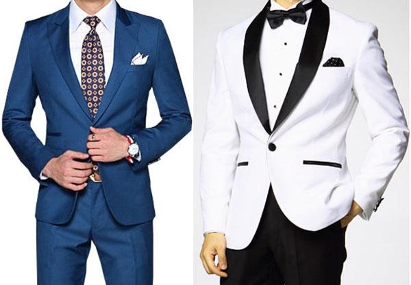 Синий и белый костюм жениха