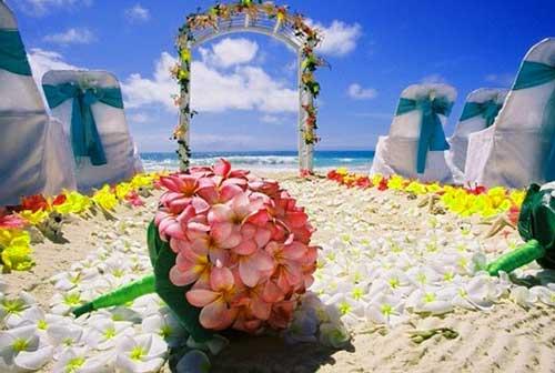 букет невесты на гавайской свадьбе