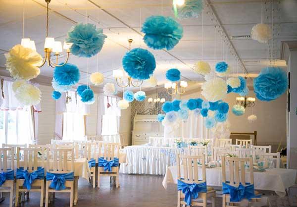 Бумага и декорирование зала свадебная обстановка