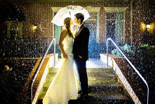 Свадебная съемка под дождем