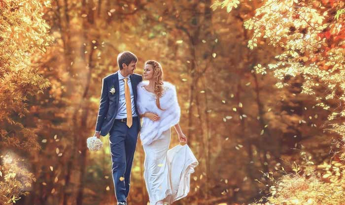 свадьба в желтой листве