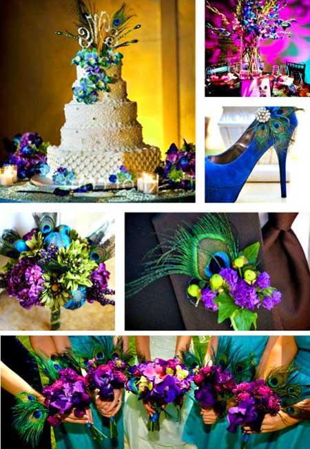 Туфли и цвета на свадьбе павлина
