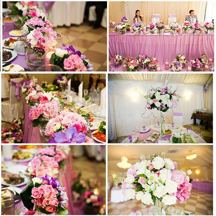 Цветы в свадебном декоре в розовом цвете