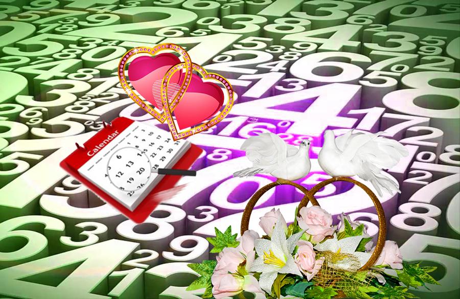Нумерология, сердца, календарь, и голуби с кольцами