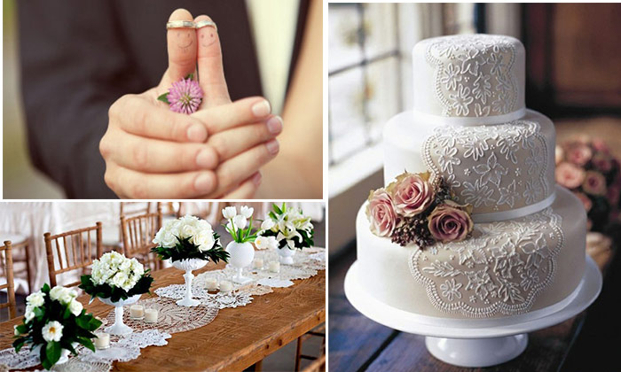 Кольца молодожен, кружевной свадебный торт, праздничный стол