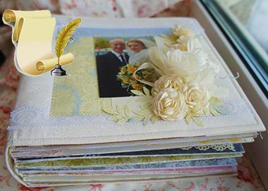 Свадебный фотоальбом и лист с пером