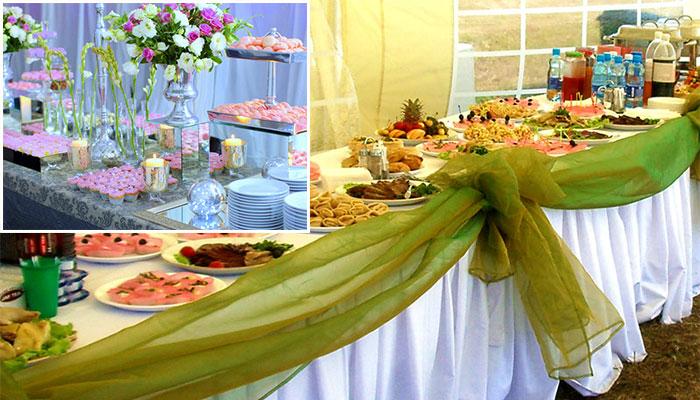 Украшение свадебных фуршетных столов
