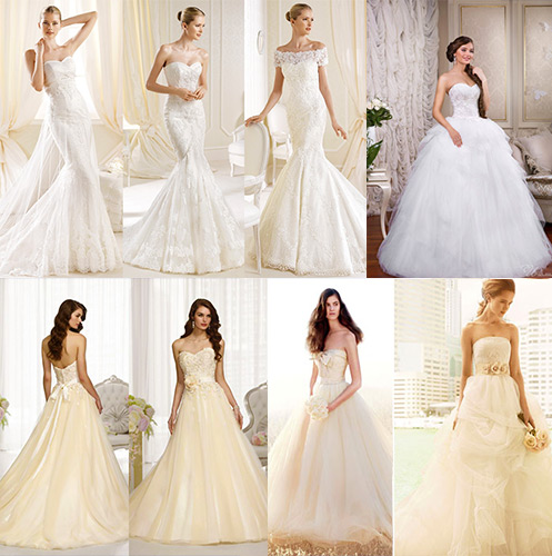 Кремовое и белое свадебное платье