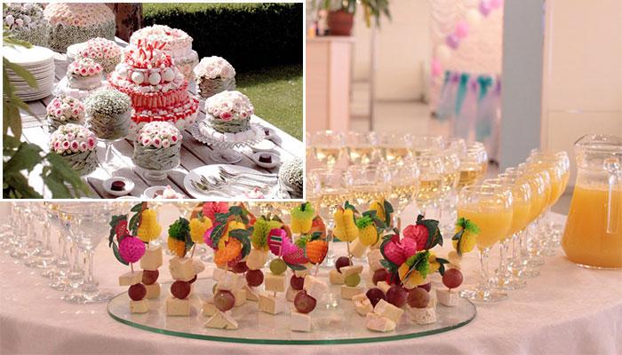 Напитки и свадебный торт фуршет