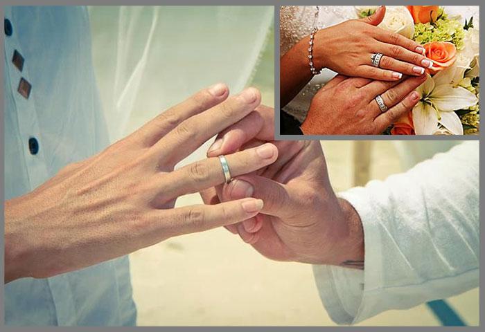 Обмен кольцами на серебряной свадьбе