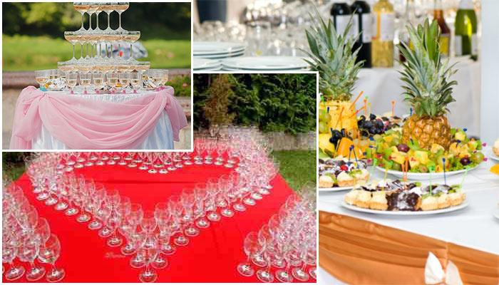 Фуршетное оформление бокалов на свадьбу