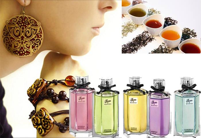 Чаи разного цвета, парфюмы и женские украшения