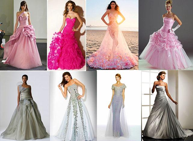 Розовые и серебристые свадебные платья