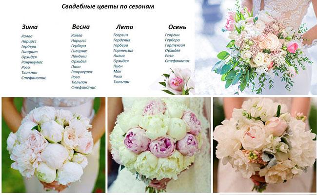 Свадебные цветы по сезонам