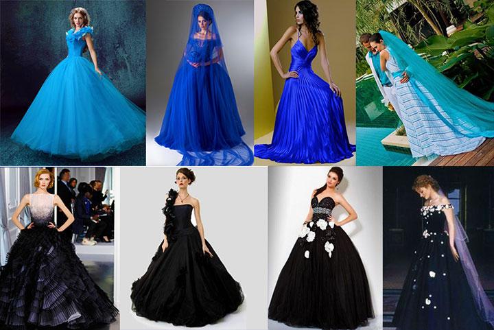 Синее и черное свадебное платье