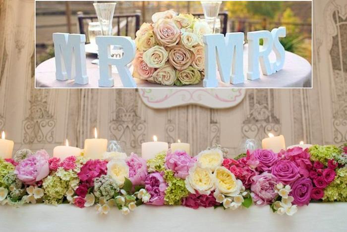 Сочетание цвета интерьера и цветов на свадьбе