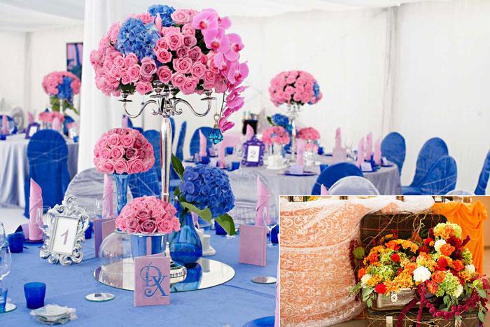 Сочетание цветов при оформлении свадьбы