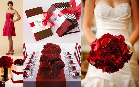 Детали свадьбы в красных тонах