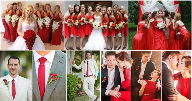 Наряды с красным жениха и невесты
