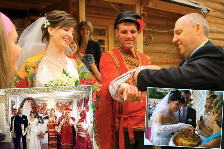 Свадебные русские традиции с караваем и рушником