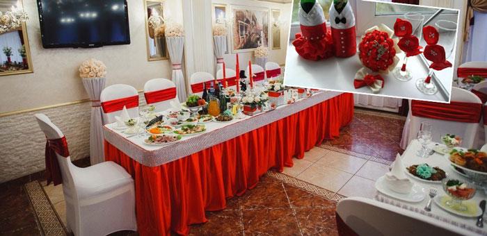 Украшение зала на свадьбу в красных тонах