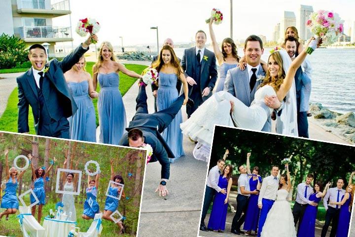 Наряды на свадьбу в голубых тонах
