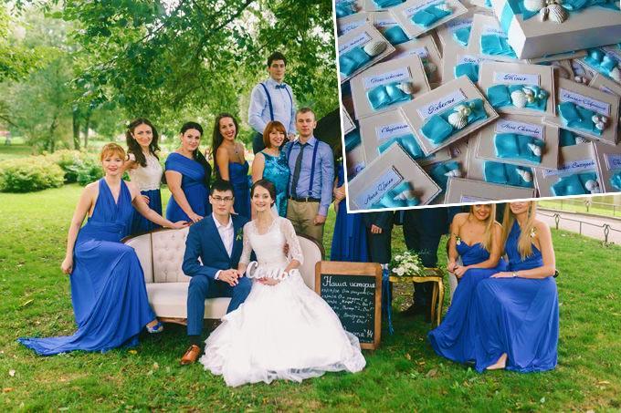 Приглашения на свадьбу в голубых тонах