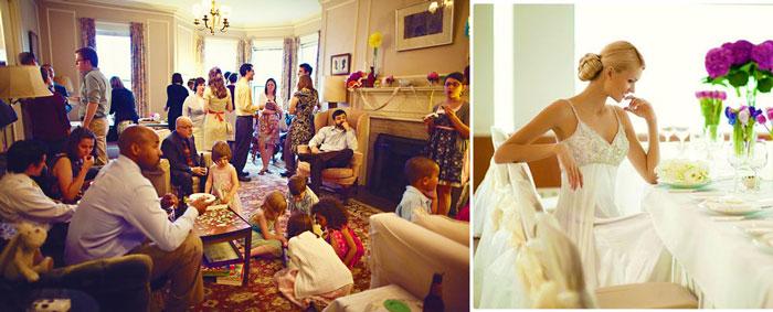 Невеста и гости свадьбы