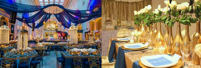 Залы украшенные на свадьбу в сочетании с золотым цветом