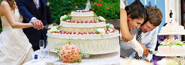 Нарезка свадебного торта молодыми