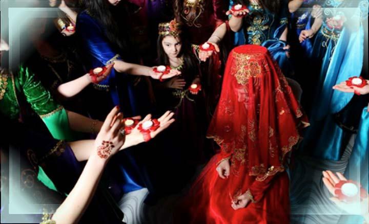 Азербайджанская невеста с платком на голове