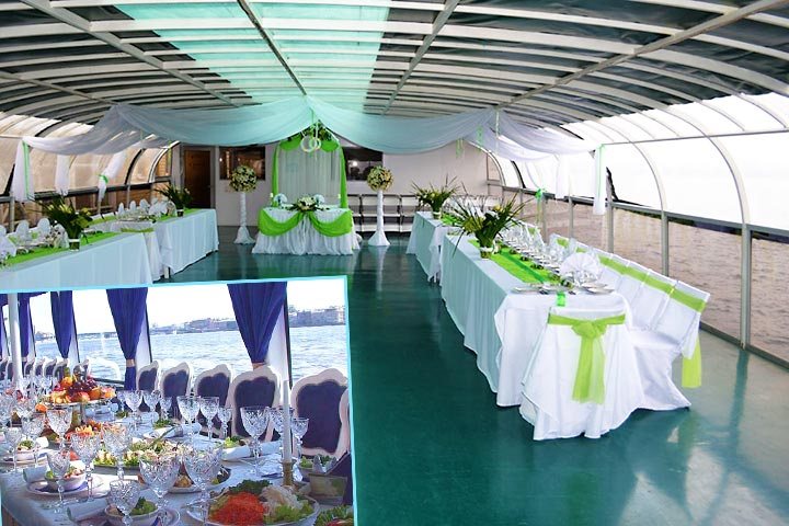 Украшеное судно на свадьбу
