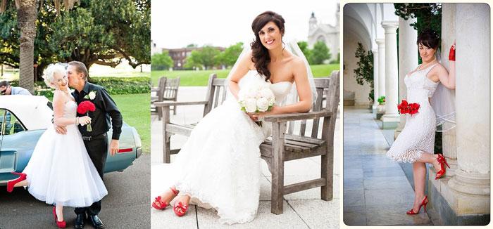 Красные свадебные туфли невесты