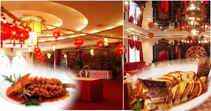 Рыбные блюда и китайский стиль банкетного зала