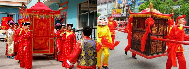 Китайская невеста едет в паланкине
