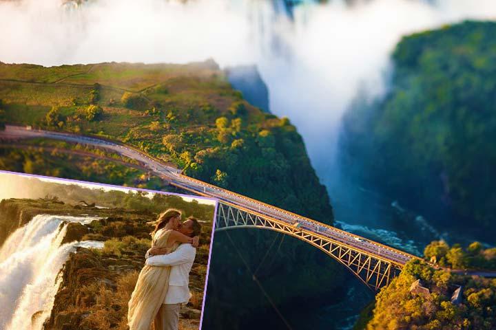 Молодожены и водопад Виктория в Замбии