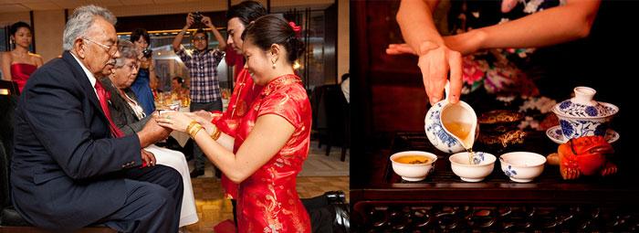Китайские молодожены подают чай своим родителям