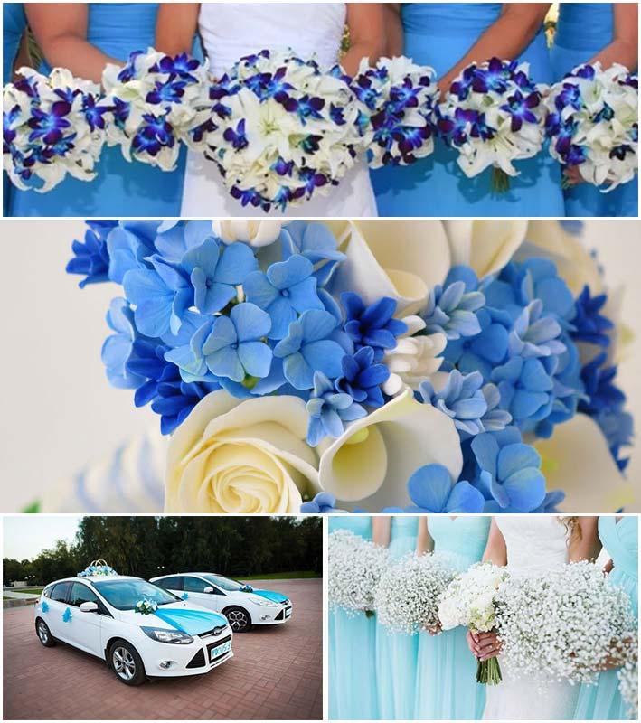 Букет невесты и свадебный декор в голубых тонах