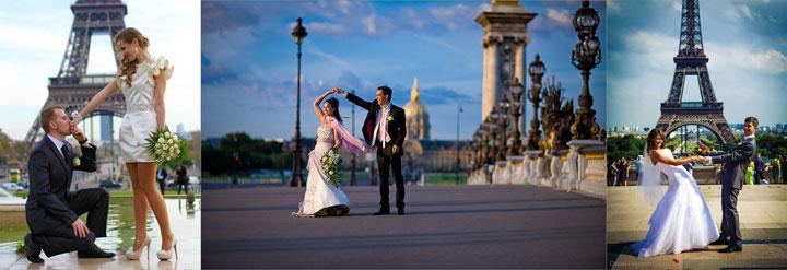 Молодожены и эйфелева башня в Париже